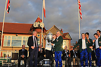 Nathanial Crosby (Captain USA) receives the Walker Cup from Tudor Williams (Captain Royal Liverpool) at the Walker Cup Award ceremony at Royal Liverpool Golf CLub, Hoylake, Cheshire, England. 08/09/2019.<br /> Picture Thos Caffrey / Golffile.ie<br /> <br /> All photo usage must carry mandatory copyright credit (© Golffile | Thos Caffrey)