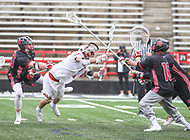 College Park, MD - April 15, 2018: Maryland Terrapins Connor Kelly (1) attempts a shot during game between Rutgers and Maryland at  Capital One Field at Maryland Stadium in College Park, MD.  (Photo by Elliott Brown/Media Images International)