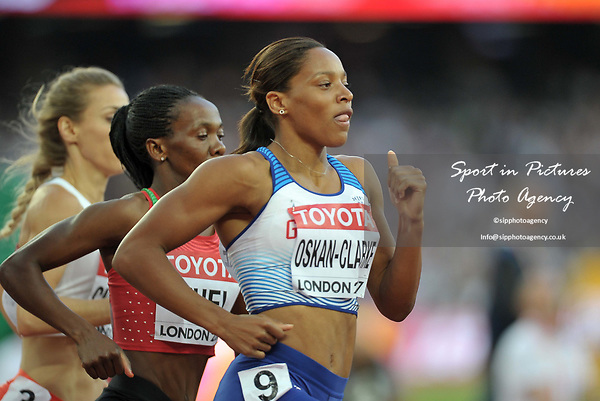 Shelayna OSKAN-CLARKE (GBR) in the womens 800m heats. IAAF world athletics championships. London Olympic stadium. Queen Elizabeth Olympic park. Stratford. London. UK. 10/08/2017. ~ MANDATORY CREDIT Garry Bowden/SIPPA - NO UNAUTHORISED USE - +44 7837 394578
