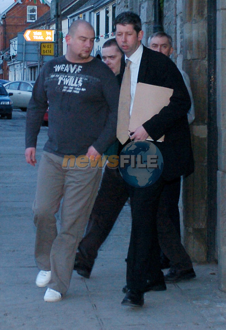 Alan Barry (L) being escorted from Ardee District Court on Saturday Evening after being remanded in Custody until Tuesday at Drogheda District Court on Drug Charges..Photo NEWSFILE/FRAN CAFFREY..(Photo credit should read FRAN CAFFREY/NEWSFILE.COPY ELAINE KEOGH..This Picture has been sent you under the condtions enclosed by:.Newsfile Ltd..the Studio,.Millmount Abbey,.Drogheda,.Co Meath..Ireland..Tel: +353(0)41-9871240.Fax: +353(0)41-9871260.GSM: +353(0)86-2500958.email: pictures@newsfile.ie.www.newsfile.ie.FTP: 193.120.102.198..This picture is from Fran Caffrey@newsfile.ie