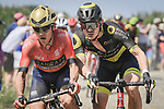 Domenico Pozzovivo (ITA) Bahrain-Merida and Thomas Boudat (FRA) Direct Energie in action on the cobbles during Stage 9 of the 2018 Tour de France running 156.5km from Arras Citadelle to Roubaix, France. 15th July 2018. <br /> Picture: ASO/Pauline Ballet | Cyclefile<br /> All photos usage must carry mandatory copyright credit (&copy; Cyclefile | ASO/Pauline Ballet)