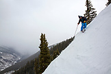 USA, Colorado, Aspen, telemark skier makes turns on Kessler's run, Aspen Highlands Ski Resort