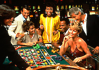 Multiethnic couples playing roulette