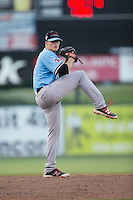 Hickory Crawdads starting pitcher Wes Benjamin (12) in action against the Kannapolis Intimidators at Kannapolis Intimidators Stadium on June 11, 2016 in Kannapolis, North Carolina.  The Crawdads defeated the Intimidators 7-5.  (Brian Westerholt/Four Seam Images)