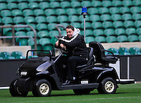 Twickenham, England. New Zealand All Blacks coach Steve Hansen finds suitable transport for possible All Blacks injuries during captains run and media session for the QBE Internationals England v New Zealand at Twickenham Stadium on December 01. Twickenham, England, 2012