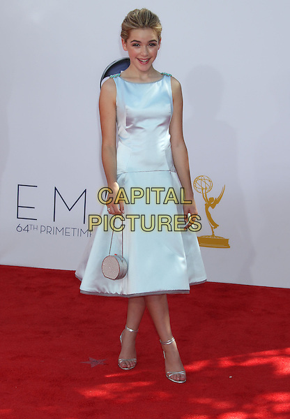 Kiernan Shipka.The 64th Annual Primetime Emmy Awards - Arrivals, held at Nokia Theatre L.A. Live in Los Angeles, California, USA..September 23rd, 2012.emmys full length blue white silk satin sleeveless bag purse dress .CAP/ADM/RE.©Russ Elliot/AdMedia/Capital Pictures.
