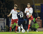 Southend's Stephen McLaughlin tussles with Sheffield United's Paul Coutts during the League One match at Roots Hall Stadium.  Photo credit should read: David Klein/Sportimage