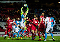 Blackburn Rovers' Greg Cunningham (centre) competing with Nottingham Forest's goalkeeper Brice Samba <br /> <br /> Photographer Andrew Kearns/CameraSport<br /> <br /> The EFL Sky Bet Championship - Blackburn Rovers v Nottingham Forest - Tuesday 1st October 2019  - Ewood Park - Blackburn<br /> <br /> World Copyright © 2019 CameraSport. All rights reserved. 43 Linden Ave. Countesthorpe. Leicester. England. LE8 5PG - Tel: +44 (0) 116 277 4147 - admin@camerasport.com - www.camerasport.com