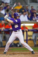 LSU Tigers catcher Ty Ross #26 at bat against the Auburn Tigers in the NCAA baseball game on March 23, 2013 at Alex Box Stadium in Baton Rouge, Louisiana. LSU defeated Auburn 5-1. (Andrew Woolley/Four Seam Images).