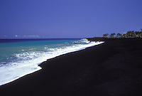 Now covered with lava, Kamoamoa black sand beach as it once looked on the Big Island