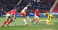 Blackpool's Armand Gnanduillet spurns his side's best chance of the game<br /> <br /> Photographer David Shipman/CameraSport<br /> <br /> The EFL Sky Bet League One - Charlton Athletic v Blackpool - Saturday 16th February 2019 - The Valley - London<br /> <br /> World Copyright © 2019 CameraSport. All rights reserved. 43 Linden Ave. Countesthorpe. Leicester. England. LE8 5PG - Tel: +44 (0) 116 277 4147 - admin@camerasport.com - www.camerasport.com