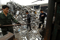 A scrap metal plant in Nanhai, Guangdong, China. China's voracious demand for commodities including metal has doubled the cost of scrap in the last couple of years. China imports scrap metal from many European countries..16 Mar 2007