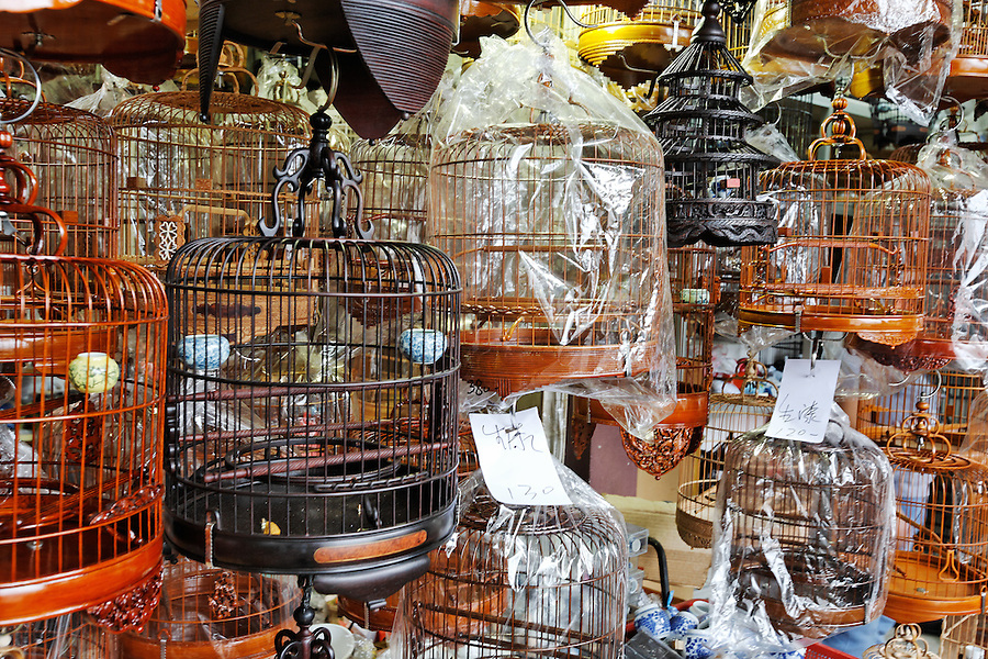 Bird cages for sale in Yuen Po Street Bird Garden, Kowloon, Hong Kong SAR, People's Republic of China, Asia