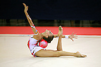 Evgeniya Kanaeva of Russia  flexibility with ball on carpet, wins senior All-Around at 2006 Trofeo Cariprato in Prato, Italy on June 17, 2006.  (Photo by Tom Theobald)
