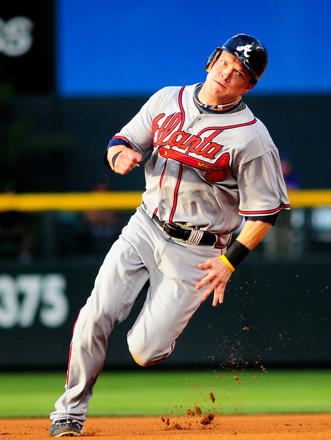 July 9, 2009: Braves outfielder Nate McLouth rounds 2nd base during a regular season game between the Atlanta Braves and the Colorado Rockies at Coors Field in Denver, Colorado.