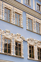 Europe/Pologne/Lublin: Détail des façades des maisons bourgeoises de la place du marché-Rynek