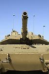 Israel, Shephelah, Merkava Mk4 Main Battle Tank at the Armored Corps Memorial Site and Museum in Latrun