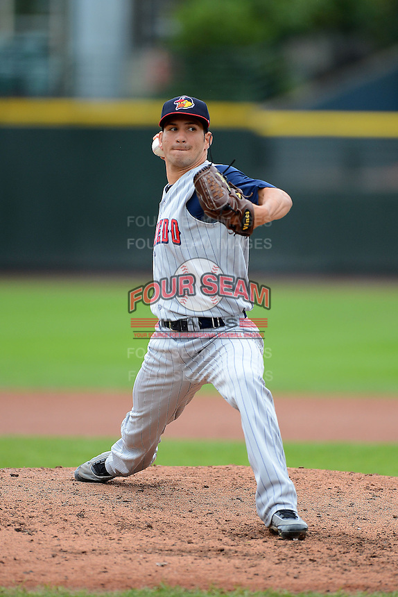 Toledo Mudhens pitcher Brayan Villarreal #33 during a game against the Rochester Red Wings on June 11, 2013 at Frontier Field in Rochester, New York.  Toledo defeated Rochester 9-5.  (Mike Janes/Four Seam Images)