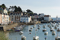 The little port of Sauzon on Belle Ile off the Quiberon Peninsula in Brittany, France.