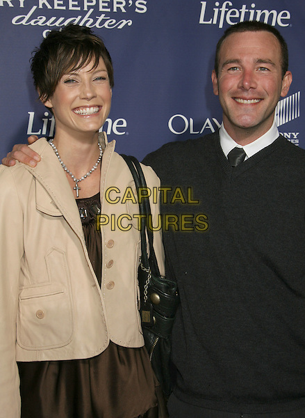 "RICHARD RUCCOLO & GUEST.""The Memory Keeper's Daughter"" Premiere held at the ArcLight Cinemas Cinerama Dome, Hollywood, California, USA..April 8th, 2008.half length beige black jacket .CAP/ADM/RE.©Russ Elliot/AdMedia/Capital Pictures."