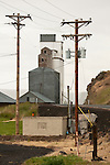 Power poles and grain elevators of Ione, Ore.