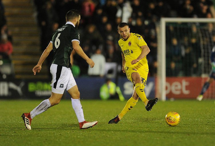 Fleetwood Town's James Wallace under pressure from Plymouth Argyle's JamieNess<br /> <br /> Photographer Kevin Barnes/CameraSport<br /> <br /> The EFL Sky Bet League One - Plymouth Argyle v Fleetwood Town - Saturday 24th November 2018 - Home Park - Plymouth<br /> <br /> World Copyright © 2018 CameraSport. All rights reserved. 43 Linden Ave. Countesthorpe. Leicester. England. LE8 5PG - Tel: +44 (0) 116 277 4147 - admin@camerasport.com - www.camerasport.com