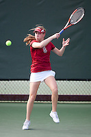 STANFORD, CA - April 14, 2011: Carolyn McVeigh of Stanford women's tennis during Stanford's dual against St. Mary's. Stanford won 6-1. McVeigh defeated St. Mary's Molly Aloia 6-1, 6-1.