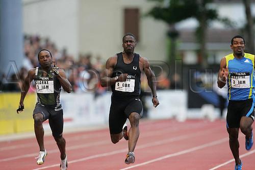08 06 2010  Athletics Meeting de Montreuil. 100m run.  Clarke Jamaica Dwain Chambers GBR, Mario Forsythe Jamaica.