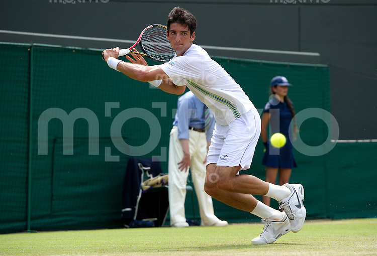 Thomaz Bellucci (BRA) plays against Robin Sonderling (SWE) on Court 1. The Wimbledon Championships 2010 The All England Lawn Tennis & Croquet Club  Day 6 Saturday 26/06/2010