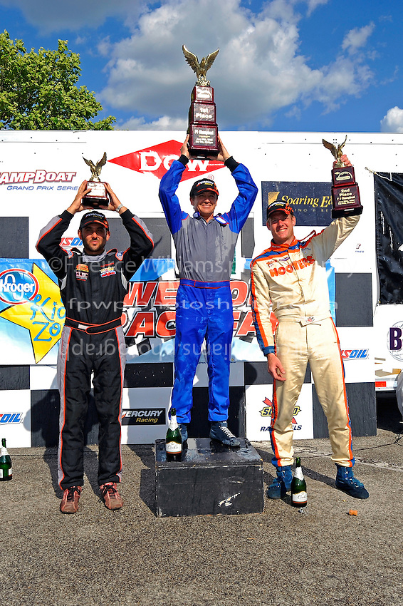 F1/Formula 1 class podium (L to R), Shaun Torrente (3rd), Tim Seebold (1st) and Chris Fairchild (2nd). In Mercury hats..Bay City River Roar, Bay City,Michigan USA.26-2821 June, 2009..©F. Peirce Williams 2009 USA.F.Peirce Williams.photography.ref: RAW (.NEF) File Available
