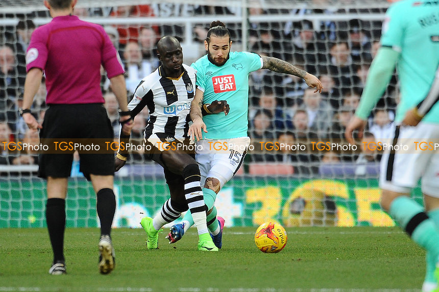 Mohamed Diame of Newcastle United battles with Bradley Johnson of Derby County during Newcastle United vs Derby County, Sky Bet EFL Championship Football at St. James' Park on 4th February 2017