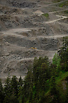 Gravel pit excavator, Quarry in the Reutte district, Tyrol, Tirol, Austria.