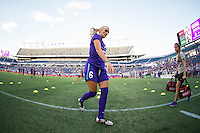 Orlando, Florida - Saturday, April 23, 2016: Orlando Pride midfielder Kaylyn Kyle (6) warms up prior to the start of an NWSL match between Orlando Pride and Houston Dash at the Orlando Citrus Bowl.