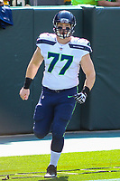 Seattle Seahawks offensive lineman Ethan Pocic (77) during a National Football League game against the Green Bay Packers on September 10, 2017 at Lambeau Field in Green Bay, Wisconsin. Green Bay defeated Seattle 17-9. (Brad Krause/Krause Sports Photography)