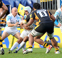 High Wycombe, England.  in action during the Aviva Premiership match between London Wasps and Worcester Warriors at Adam Park on October 7, 2012 in High Wycombe, England.