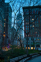 Evening photo of Empire State Building and Madison Square park