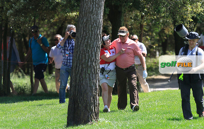 Miguel Angel Jimenez (ESP) dances onto the 8th green after hitting a Hole-In-One during Round 2 of the Open de Espana  in Club de Golf el Prat, Barcelona on Friday 15th May 2015.<br /> Picture:  Thos Caffrey / www.golffile.ie