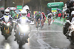Riders cross the finish line of Stage 4 of the 2016 Tour de Romandie, running 173.2km from Conthey to Villars, Switzerland. 30th April 2016.<br /> Picture: Heinz Zwicky | Newsfile<br /> <br /> <br /> All photos usage must carry mandatory copyright credit (© Newsfile | Heinz Zwicky)