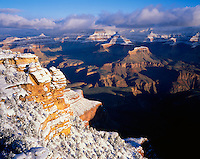 Grand Canyon National Park, AZ   <br /> Clearing winter storm and fresh snow on South Rim - from Mather Point