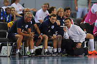 England Futsal manager Michael Skubala (far right) chats with the England coaching staff during England vs Poland, International Futsal Friendly at St George's Park on 2nd June 2018