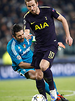 Football Soccer: UEFA Champions League Juventus vs Tottenahm Hotspurs FC Round of 16 1st leg, Allianz Stadium. Turin, Italy, February 13, 2018. <br /> Tottenham's Harry Kane (r) scores contrasted by Juventus' goalkeeper Gianluigi Buffon (l) during the Uefa Champions League football soccer match between Juventus and Tottenahm Hotspurs FC at Allianz Stadium in Turin, February 13, 2018.<br /> UPDATE IMAGES PRESS/Isabella Bonotto