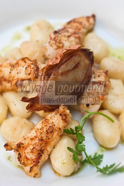 Europe/France/Corse/2B/Haute-Corse/Cap Corse/Bastia: Langoustine minute aux gnocchi recette de Jean Marc Vintimilia  du Restaurant: La Citadelle