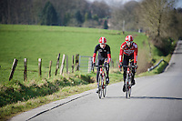 Louis Vervaeke (BEL/Lotto-Soudal) & Thomas De Gendt (BEL/Lotto-Soudal) training on Flanders' roads ahead of the 2016 spring classics season