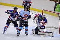 IJSHOCKEY: HEERENVEEN: IJsstadion Thialf, 24-11-2012, Eredivisie, Friesland Flyers - HYS Den Haag, Aleksandr Terjohins (Flyers | #4), Nico Sacchetti (HYS | #77),goalie Martijn Oosterwijk (Flyers | #30)