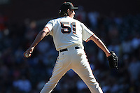SAN FRANCISCO - OCTOBER 1:  Randy Johnson #51 of the San Francisco Giants pitches against the Arizona Diamondbacks during the game at AT&T Park on October 1, 2009 in San Francisco, California. Photo by Brad Mangin