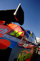 Mar 30, 2007; Martinsville, VA, USA; The rear wing of Nascar Nextel Cup Series driver Jeff Gordon (24) during practice for the Goody's Cool Orange 500 at Martinsville Speedway. Martinsville marks the second race for the new car of tomorrow. Mandatory Credit: Mark J. Rebilas..