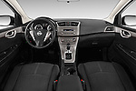 Stock photo of straight dashboard view of2014 Nissan Sentra SV 4 Door Sedan Dashboard