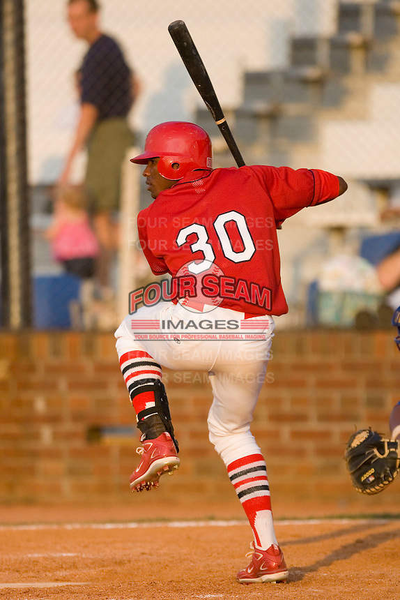 Rainel Rosario #30 of the Johnson City Cardinals at bat versus the Burlington Royals at Howard Johnson Stadium June 27, 2009 in Johnson City, Tennessee. (Photo by Brian Westerholt / Four Seam Images)