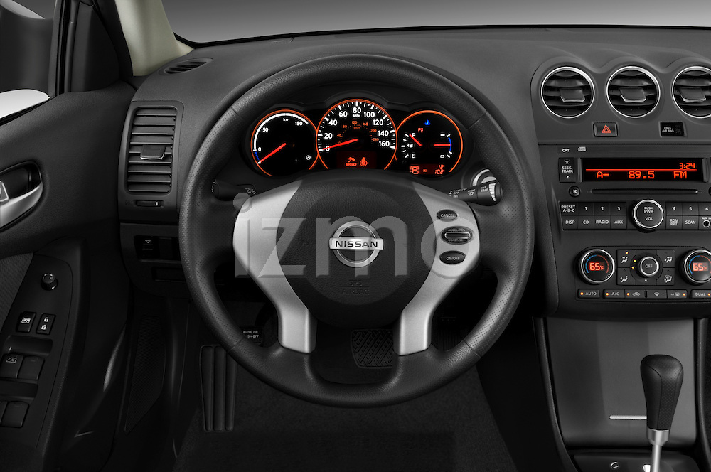 Steering wheel view of a 2009 Nissan Altima Hybrid