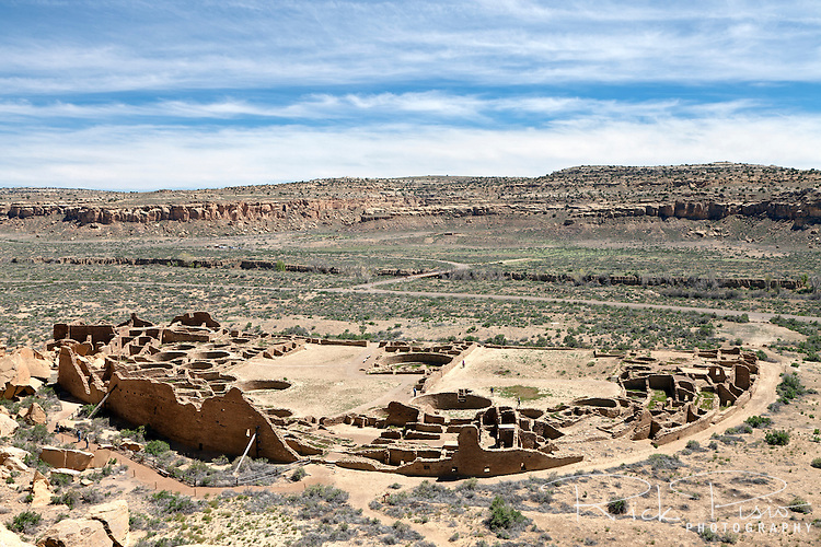 Pueblo Bonito at Chaco Culture National Historical Park in New Mexico. Pueblo Bonito was constructed in stages between AD 850 to AD 1150 by the ancestral Puebloan peoples and is considered the center of the Chacoan world.